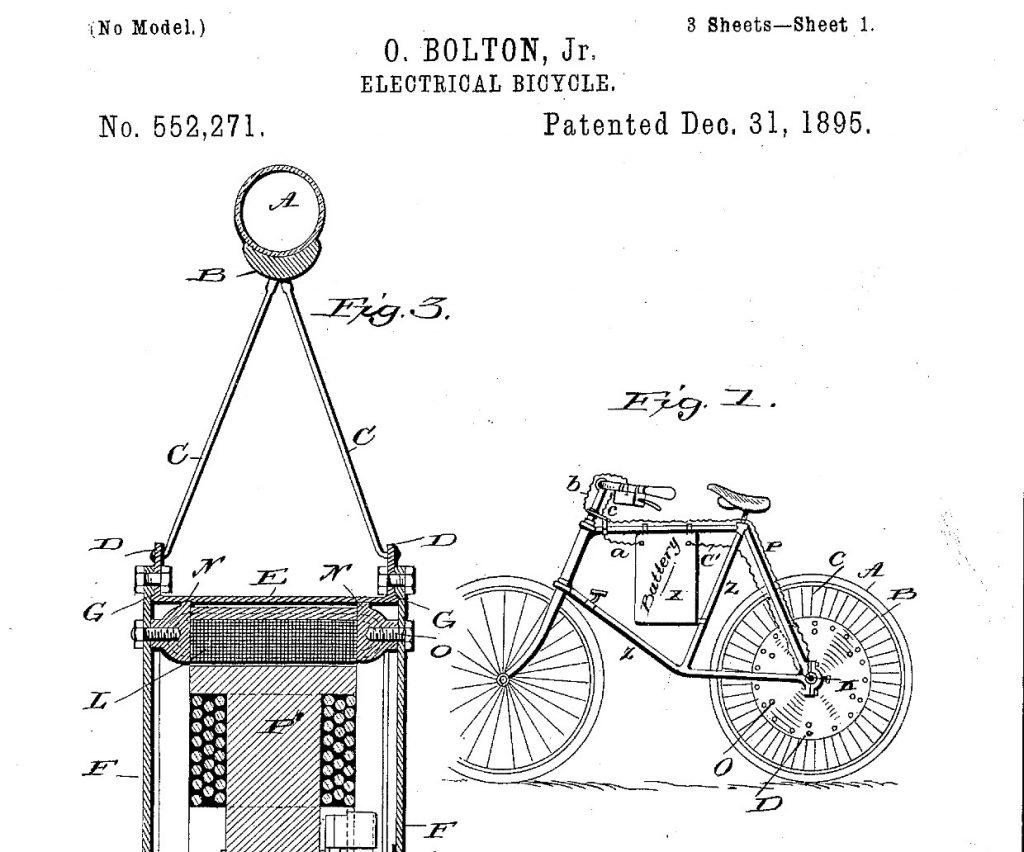Patente de Odgen Bolton Jr. con la primera bicicleta eléctrica.
