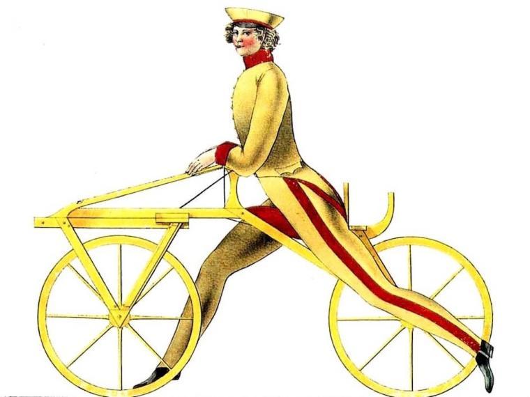 Ejemplo de cómo funcionaba la draisiana inventada por el Barón Drais. Precursora de la bicicleta.