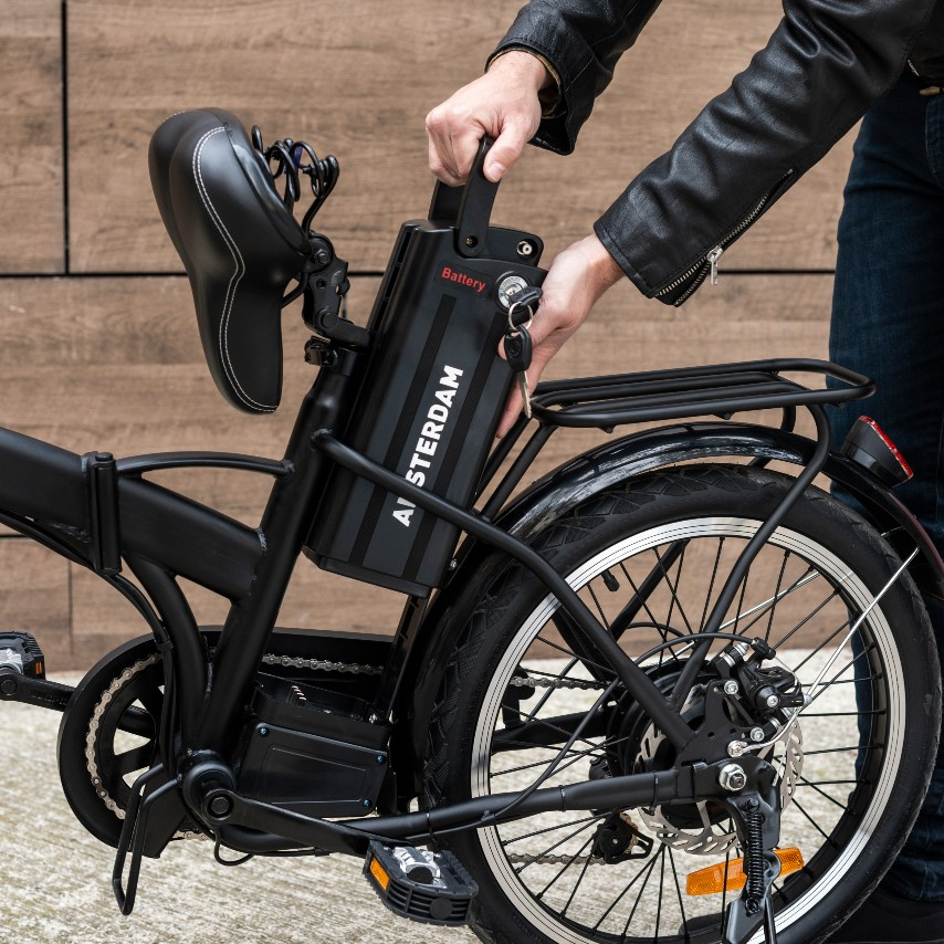 Batería extraíble de la bicicleta eléctrica You-Ride Amsterdam de Youin.